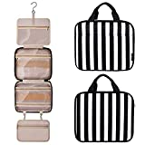 Toiletry Bag Travel Bag with Hanging Hook, Water-resistant Makeup Cosmetic Bag Travel Organizer with 4 Compartments & 1 Sturdy Hook,Perfect for Travel/ Daily Use/ Christmas/Holiday Gifts
