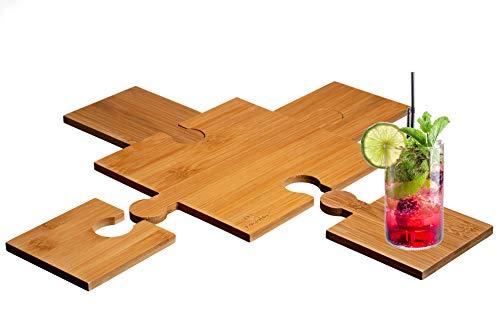 LucroTo Topfuntersetzer Hitzebeständig aus Bambus-Holz - Glasuntersetzer im 5er Set - Getränke-Untersetzer modern Puzzle Design (Form Plus)