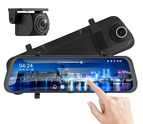 "Mirror Dash Camera NOLYTH 10"" Mirror Dash Cam Backup Camera 1080P Dual Dash Cam 170°Front and Rear Full Touch Screen Video Streaming Rear View Mirror Camera with G-Sensor Parking Monitor 32GB SD Card"