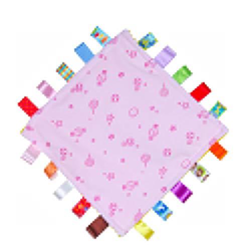 G-Tree Tag Couverture, carrés Taggies sécurité en peluche Consolateur Couverture pour bébé bébé, Taggies Couleurs Couverture (Rose)