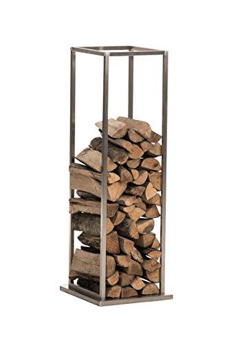 CLP Exklusiver Kaminholzständer RETO aus rostfreiem und robustem Edelstahl, mit Bodenplatte Höhe 115 cm, 33 x 33 cm