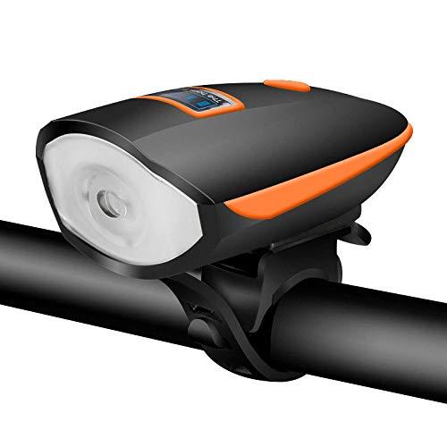 ACECYCLE Luz Bicicleta Delantera y Trasera Recargable Conjuntos Linterna Bicicleta LED Faros Impermeable con Bici Campana para Carretera Montaña Cámping Emergencia Noche Ciclismo