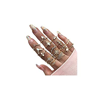 YOOE 7-10 Pieces Gold Snake Turquoise Finger Ring Set. Boho Rhinestone Stackable Rings Set,Vintage Serpentine Knuckle Ring for Women Girls (10 Pieces)