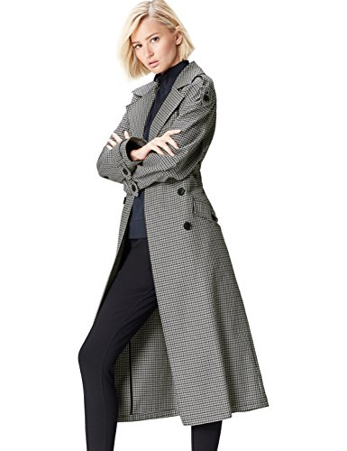 Marca Amazon - find. Gabardina Oversized de Cuadros para Mujer, Gris (Grey), 44, Label: XL