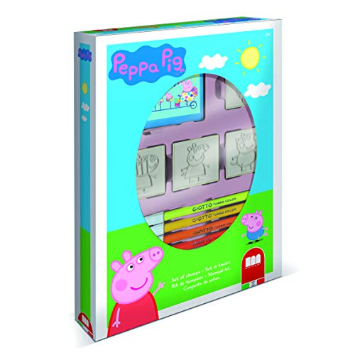 Multiprint Box 4 Stempel für Kinder Peppa Pig, 100% Made in Italy, Benutzerdefinierte Stempelset Kinder, in Holz und Naturkautschuk, Ungiftige Waschbare Tinte, Geschenkidee, Art.27875