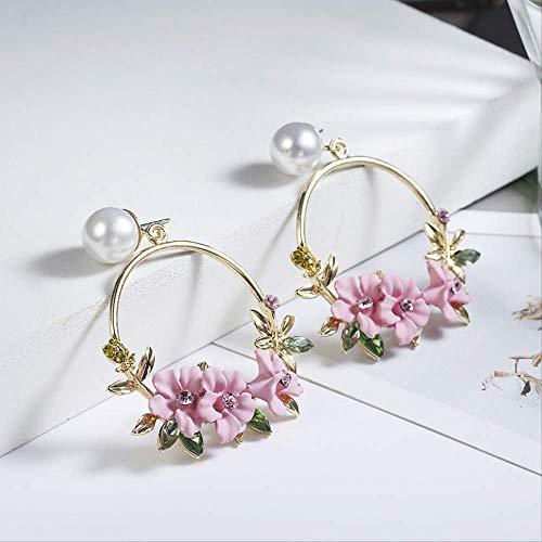 Oor manchetten voor vrouwen ronde oorbellen Rose gouden oorbellen roze bloem cirkel voor vrouwen sieraden Bruiloft voor vrouwen cadeau