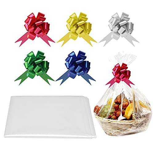 5Pcs Bolsas Transparentes Planas de Regalo De Celofán Con Cintas - Bolsa de Plástico Transparente de 100x70 cm Hogar con Lazos de Bolsa Coloridos (Bolsa de embalaje transparente)