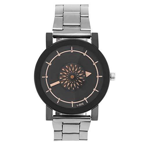 Reloj de cuarzo, reloj clásico con esfera de flores simple, reloj de pulsera suave y duradero, con correa de acero inoxidable, para amantes, mujer, etc.(Esfera negra L)