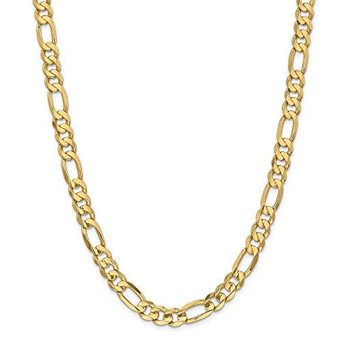 Collana concava in oro giallo 14 kt, 8,75 mm, con catena a maglia ro, da uomo e da donna