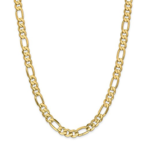 14ct Yellow Gold 8.75mm Concave Open Figaro Link Chain Necklace for Men Women