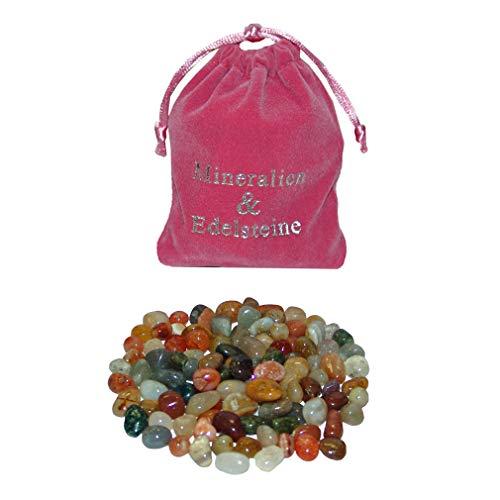 100 Stück kleine Natur Edelsteine Trommelsteine ca. 6 - 10 mm in Samtbeutel rosa give Away auch Steinchen Spiel HUS BAO / Kalaha