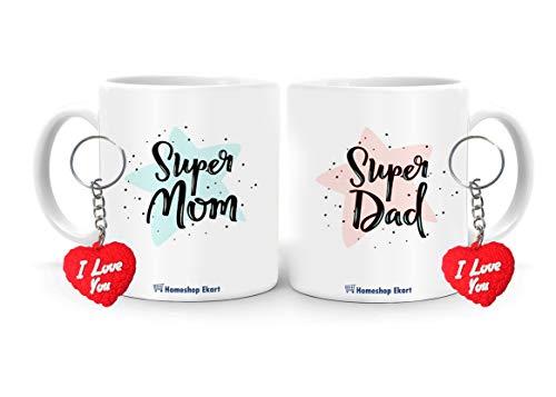 HomeShop Ekart Mom Dad Coffee Mugs Set of 2, Mom Dad Anniversary Gift Unique, Mom Dad Gift Combo, Mom Dad Mug Set with Key Chains