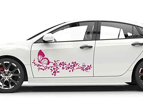 GRAZDesign Autoaufkleber Seitenaufkleber, Blumen Schmetterlinge Tribal, Auto Tattoo Aufkleber / 2St. je 63x28cm / 070 schwarz