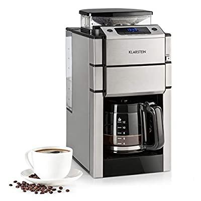 Klarstein Aromatica II Coffee Machine with Cone Gear Grinder - Filter Coffee Machine, 1000 Watt, 1.25 Liter Glass jug, 24-Hour Timer, hotplate, incl. Permanent and Activated Carbon Filter, Black