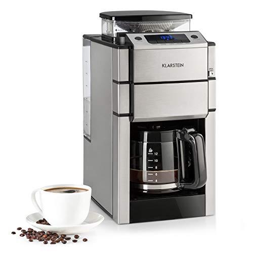 KLARSTEIN Aromatica X Máquina de café con molinillo conico- 3 Niveles de molido, Temporizador Regulable, Pantalla LED, Conserva el Calor, hasta 12 Tazas, Acero Inoxidable, Jarra de Cristal, Plateado