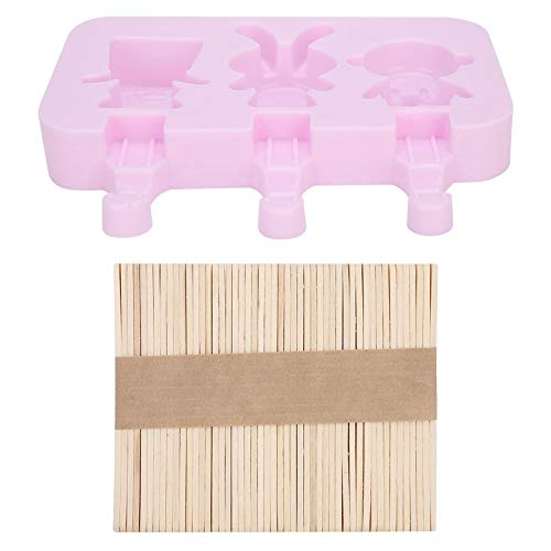 cigemay Silikon-Eiswürfelschale, Wiederverwendbare Eisballer-Eismaschine, einfache Eisform-Eisschalen zum Entformen(3 Sponge Dolls + 50 Sticks)