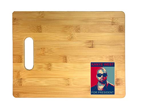 Kanye for President Hip Hop Music Songwriter Rapper 3D COLOR Printed Bamboo Cutting Board - Wedding, Housewarming, Anniversary, Birthday, Mother's Day, Gift