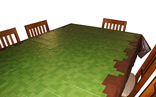 Pixel Miner Crafting Style Birthday Party Grass Tablecloth (108' x 54') - Fun, Versatile Table Cover for Inside or Outside, Wipes Clean in Seconds, Birthday Supplies Made from Recycled Materials