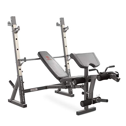 Marcy MD857 Diamond Elite Olympic Weight Bench with Squat Rack - 270kg Weight Load | Preacher Pad | Leg Developer
