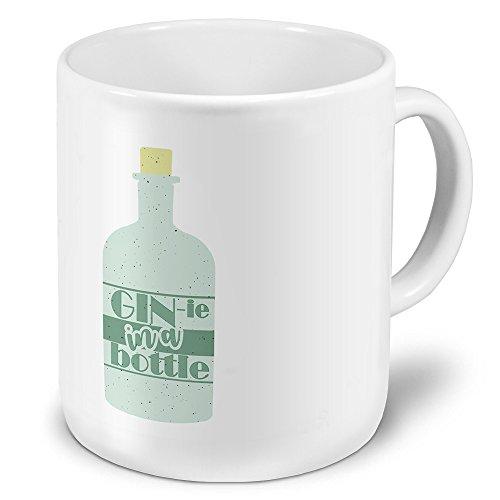 printplanet XXL Riesen-Tasse mit Spruch: Gin-ie in a Bottle - Kaffeebecher, Sprüchebecher Becher, Mug