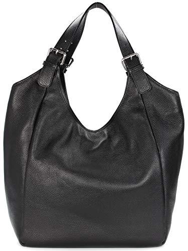 Belli italienischer Leder Shopper XXL Schultertasche Damen Handtasche - 40x40x18 cm (B x H x T) (Schwarz)