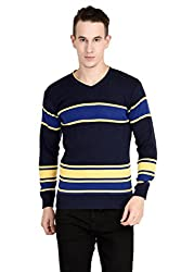 Neuvin Pullover Woollen Dark Blue-Bule Striped Cardigan