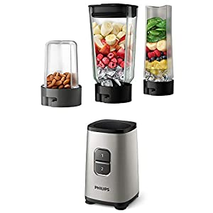 Philips 3-in-1 Daily Collection Mini Blender with On-The-Go Tumbler and Multi Chopper, Plastic, 350 W, Oyster Metallic, HR2605/81