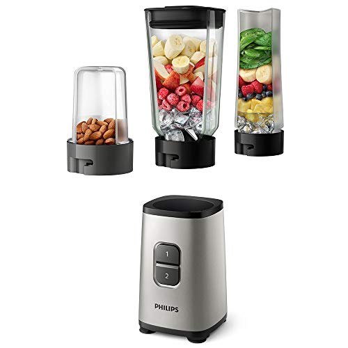 Philips HR2605/81 Daily Collection Blender Mini-Mixer mit Becher für unterwegs und Multi-Chopper, plastik, Oyster Metallic
