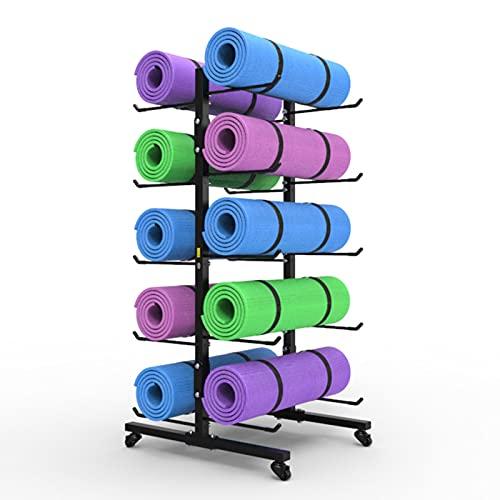 Metal Estante de Almacenamiento para Esterillas de Yoga con Ruedas, 5 Niveles Soporte de Rodillo de Espuma para El Hogar Gimnasio Estudio, hasta 25 cm de Diámetro (Color : Hold 10 mats)