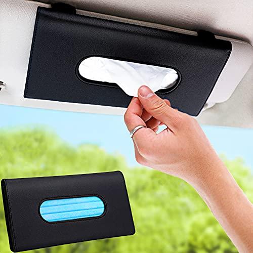 ZKONMEN Car Tissue Holder, Car Mask Holder, Premium Leather Car Mask Dispenser, Sun Visor Napkin Holder, Car Visor Tissue Holder, Tissue Holder for Car, Face Mask Holder for Car