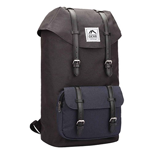 Outdoor Gear Knapsack Backpack, Waterproof Bags for School or Work, 27 Litre Day-Pack 50 cm x30 x18 RL822K (Black)