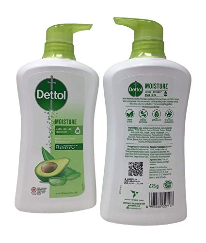 Dettol Anti Bacterial Body Wash, Moisture, 21.1 Ounce/625 Ml (Pack of 2)