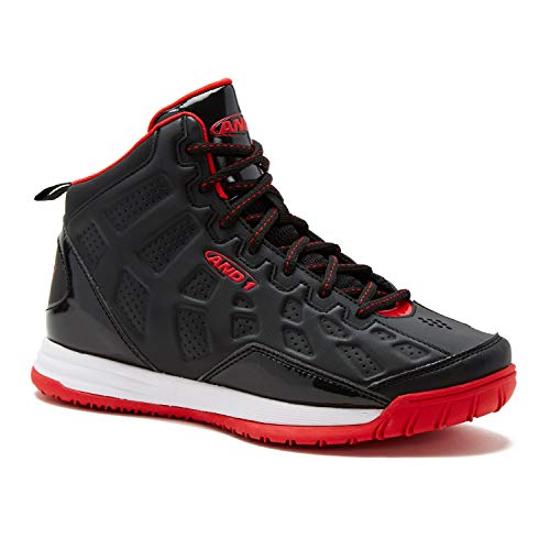 AND1 Kids Show Out Basketball Shoe, Black/Red/White, 6 Big Kid