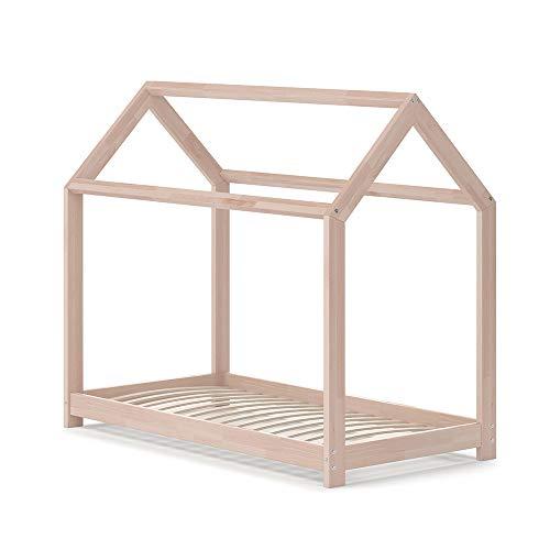 VitaliSpa Hausbett Wiki Weiß Kinderbett Kinderhaus Kinder Bett Holz Matratze (Natur Lackiert, 70 x 140 cm)