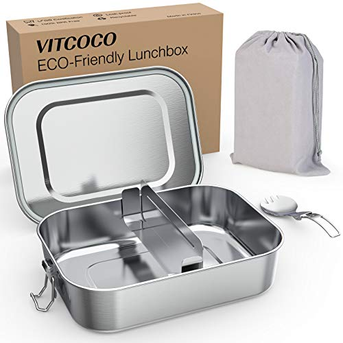 VITCOCO Stainless Steel Lunch Boxes, 800ml Bento Box Leakproof Lunch Lunch Box Rectangular with Removable Dividers Reusable Lunch Box Salad Box Sandwich Box for Kids Adults, BPA Free Food Containers