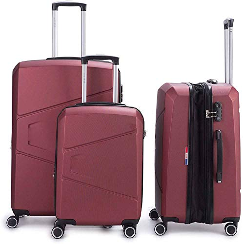 3 conjuntos de maleta rígida Caja de carro escalable de maleta rígida de desplazamiento rígido,Red