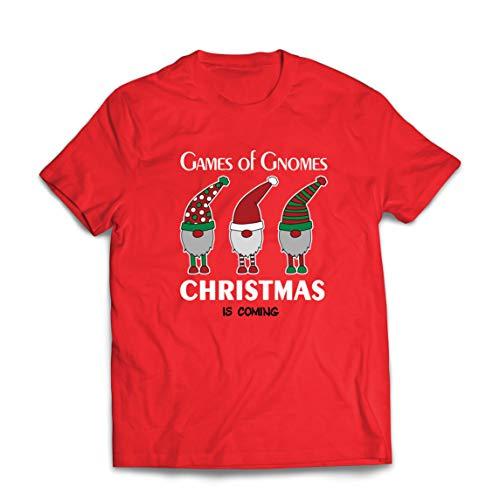 lepni.me Maglietta da Uomo Gioco di Gnomi Natale Sta arrivando Carino Nordic GNOME Nordico (Small Rosso Multicolore)
