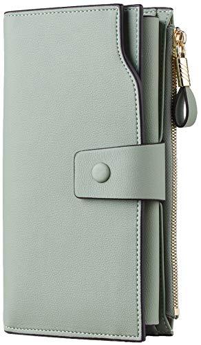 Travelambo Womens RFID Blocking Large Capacity Luxury Waxed Genuine Leather Clutch Wallet Multi Card Organizer (ReNapa Green Blooming)
