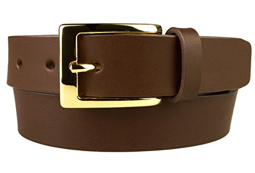 Belt Designs - Ceinture - Homme - boucle brillante plaquée or - En cuir véritable de qualité supérieure - Fabriqué au Royaume-Uni – Taille 76-86.5 cm