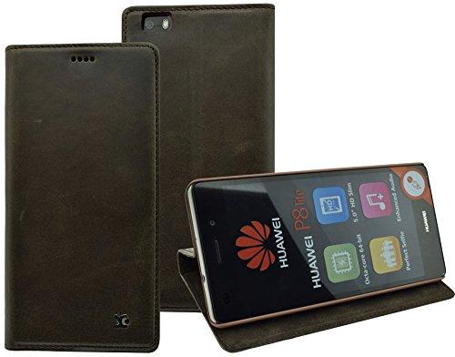 Huawei P8 Lite - Suncase Handmade Book-Style (Slim-Fit) aus echtem Leder Tasche Schutzhülle Wallet Case Hülle braun