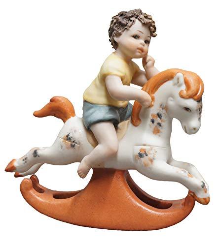 Sibania Bambino con Cavallo a Dondolo 19cm in Porcellana Made in Italy