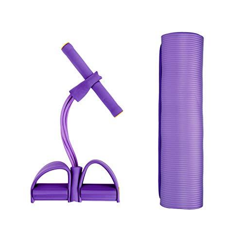 Yhjkvl MatYoga - Alfombrilla de yoga con pedal de cuerda de resistencia para interiores y deportes, entrenador de fitness, alfombrilla de ejercicio antideslizante (tamaño: 183 x 61 cm, color: morado)