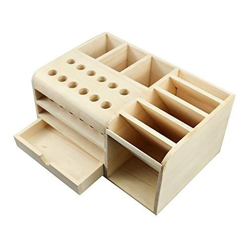 Caja de almacenamiento multifuncional de madera Herramientas de reparación móviles Estante de almacenamiento de escritorio Destornillador Soporte de pinzas
