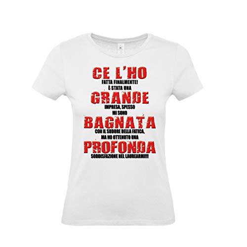 T-Shirt Maglietta Laureata - con Scritta Simpatica - Gadget per Festa di Laurea (Taglia L)