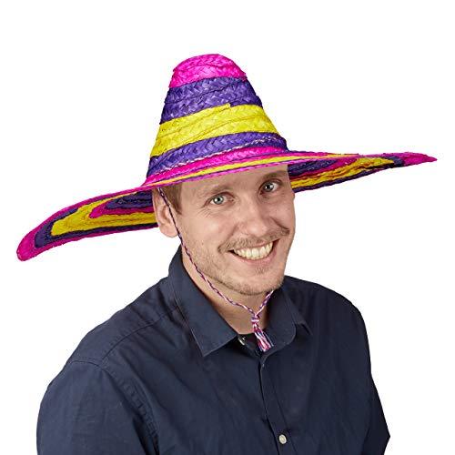 Relaxdays Sombrero Hut, XXL Partyhut Mexiko, Damen & Herren, Mexikaner Hut, mit Kordel, Riesensombrero Ø 55 cm, bunt