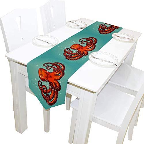 BONRI Tischläufer 13x70 Zoll Lange Tischläufer Meerestier Octopus Print Dekorative Polyester Tischläufer Tablelcoth für Zuhause Kaffee Küche Esstisch Party Bankett Urlaub Dekoration