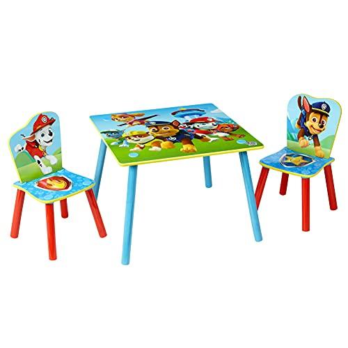 Paw Patrol Conjunto Infantil de Mesa y Dos Sillas, Madera, Multicolor, 63x63x52.5 cm