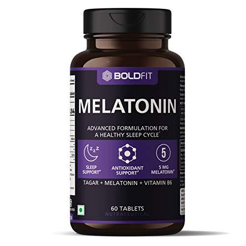 Boldfit Sleeping Aid Pills for Deep Sleep Melatonin 5Mg with Tagara 125Mg Sleep Supplement (60 Veg Tablets)