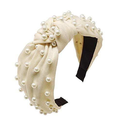 yueton Women Faux Pearl Headbands Twisted Cross Knot Velvet Headbands Elegant Bling Hair Band Hairpins Headwear Barrette Styling Tools Accessories Creamy White