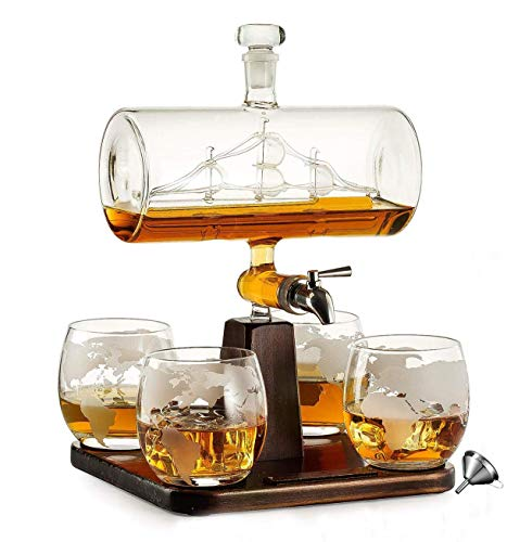 =Juego De Jarra De Whisky, Dispensador De Alcohol De Garrafa De 1000 Ml con 4 Vasos, Base De Pino Y Grifo De Acero Inoxidable, Regalo para Papá, Esposo O Novio